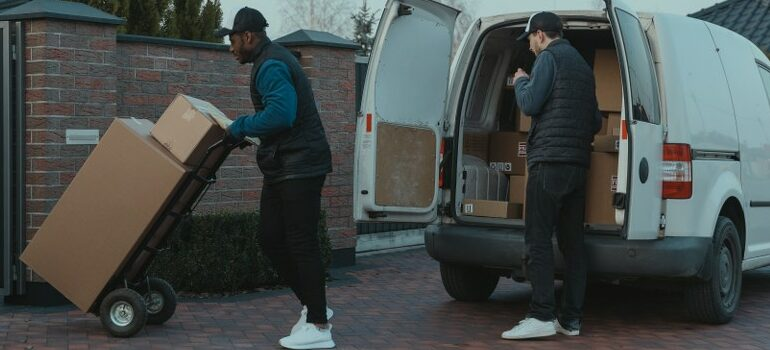 North Austin movers unloading a van