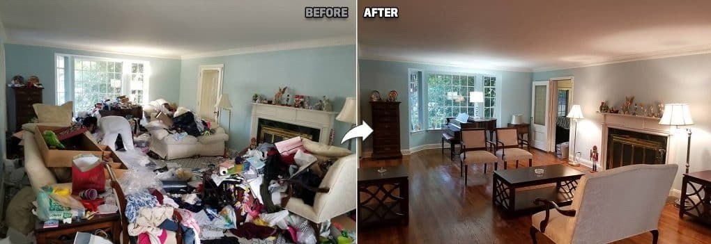 the before and after photo of a living room
