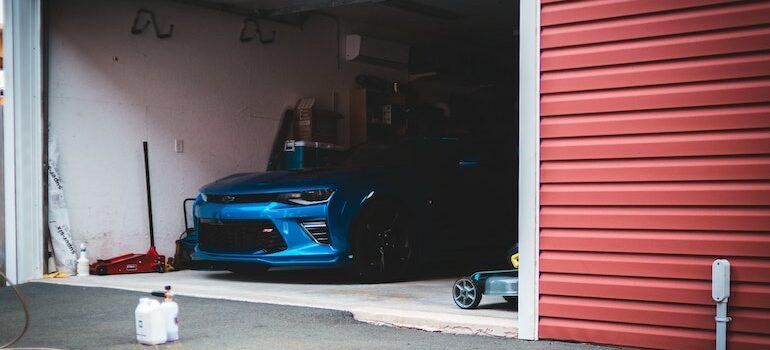 Garage with a car inside
