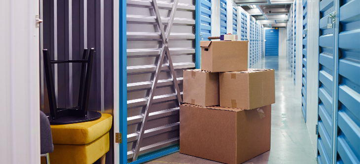 cardboard boxes in a climate controlled storage facility