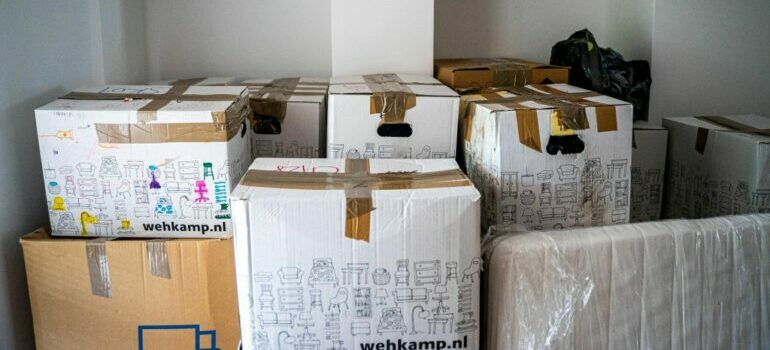 moving boxes packed for a South Austin relocation