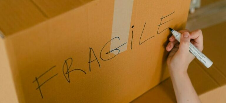 moving box labelled - fragile