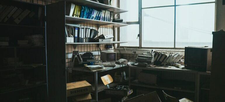A cluttered office space