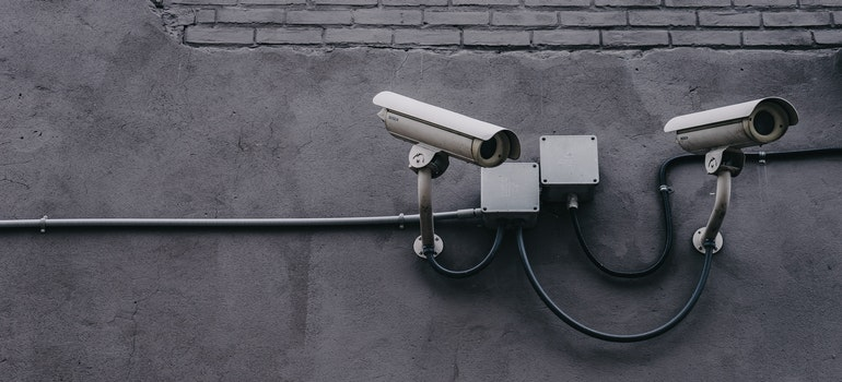 security cameras on the wall as one of the qualities of a good storage facility