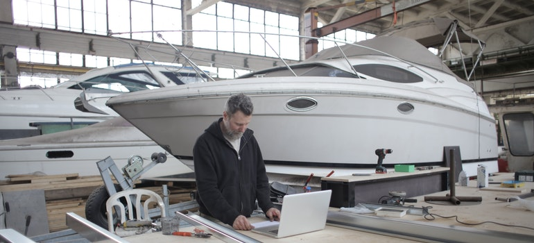 man working on a boat